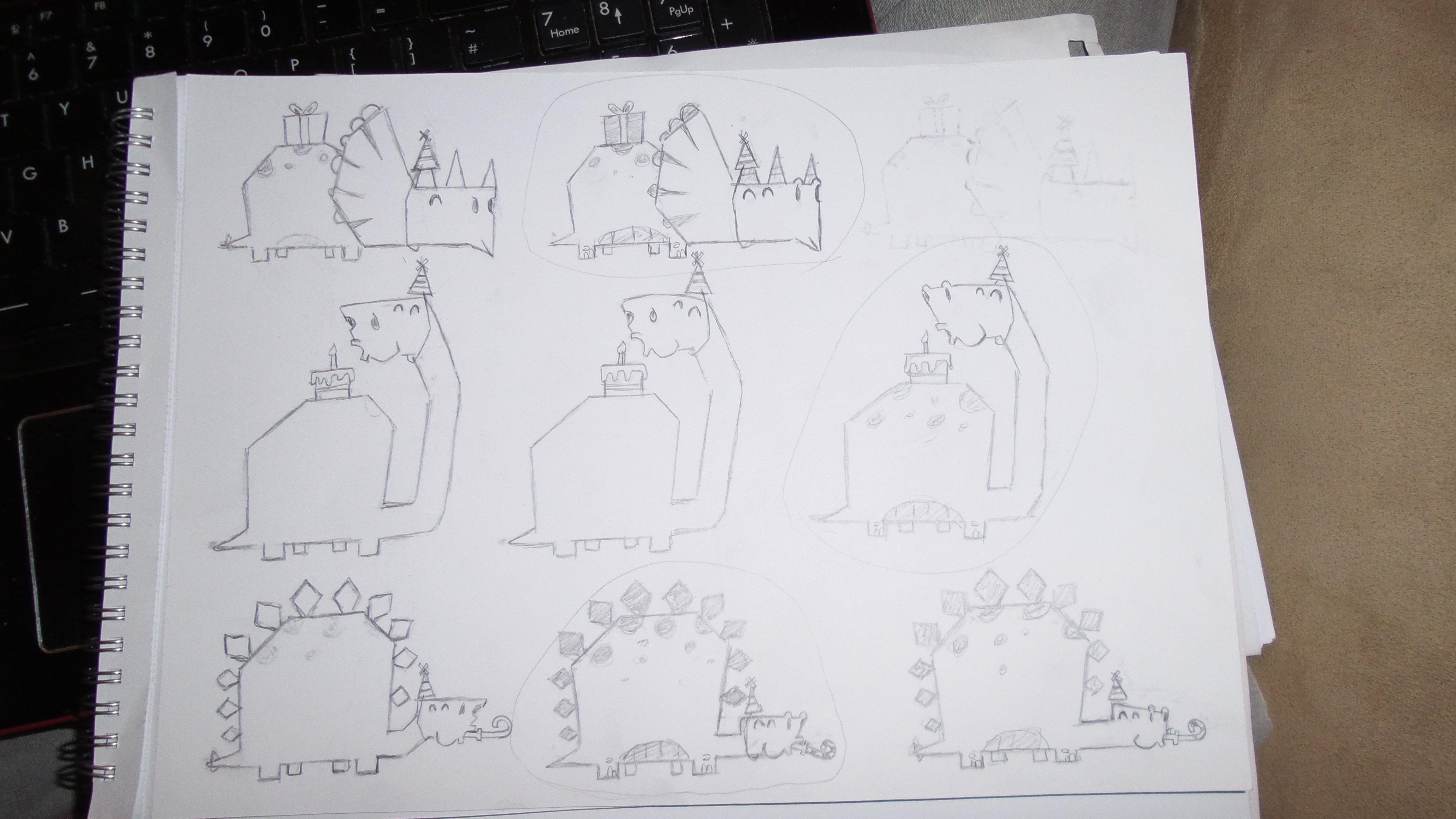 Triceratops Dinosaur invite sketch
