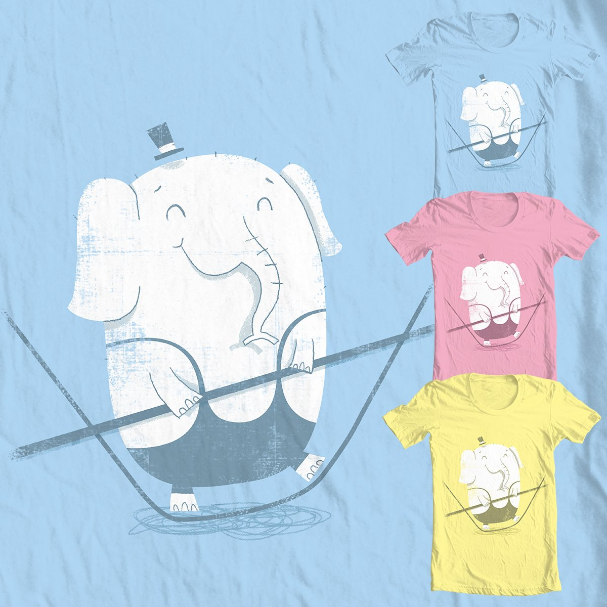 Tightrope Elephant T-shirt Design