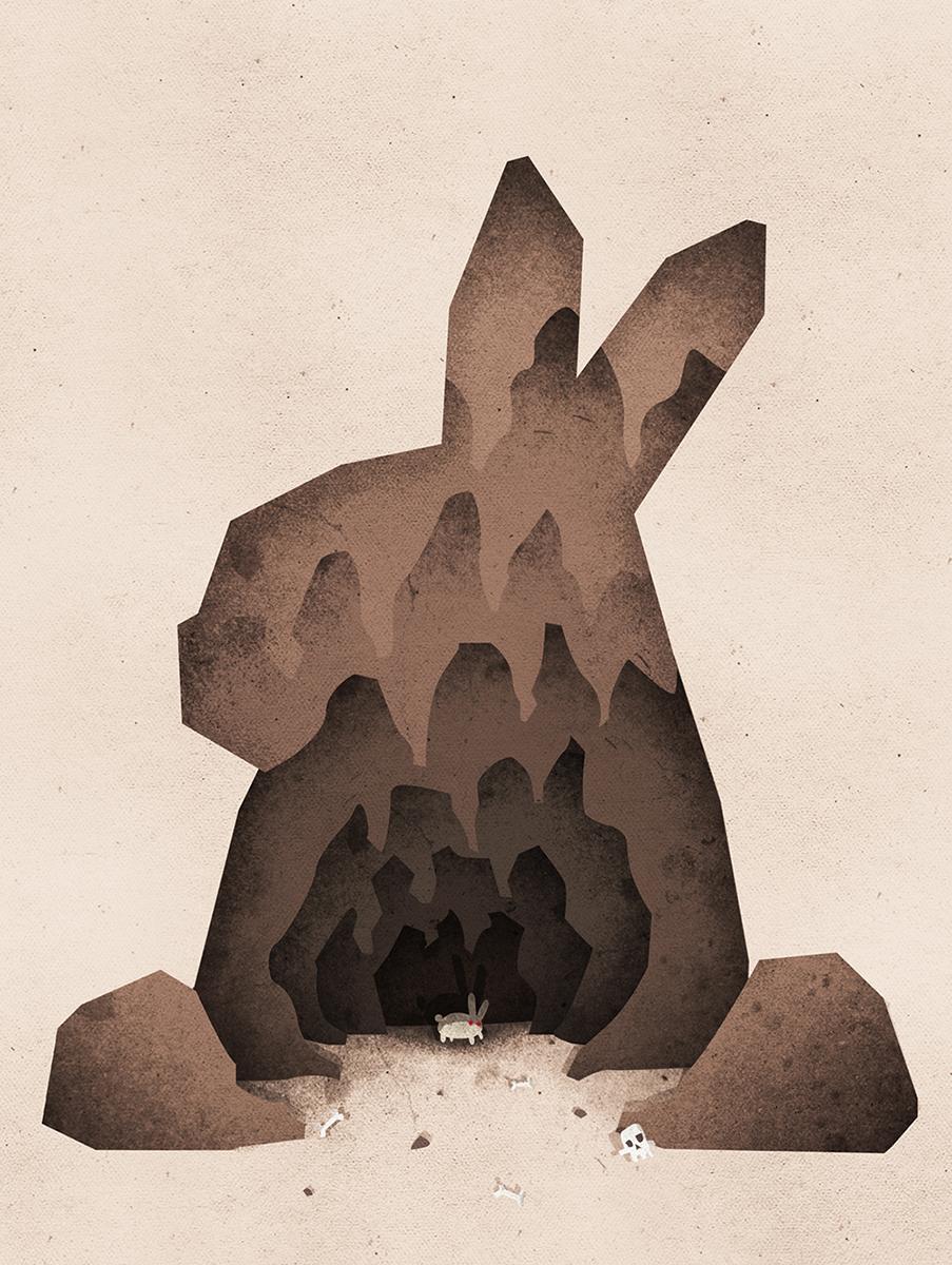 A Monty Python Inspired Rabbit of Caerbannog Illustration