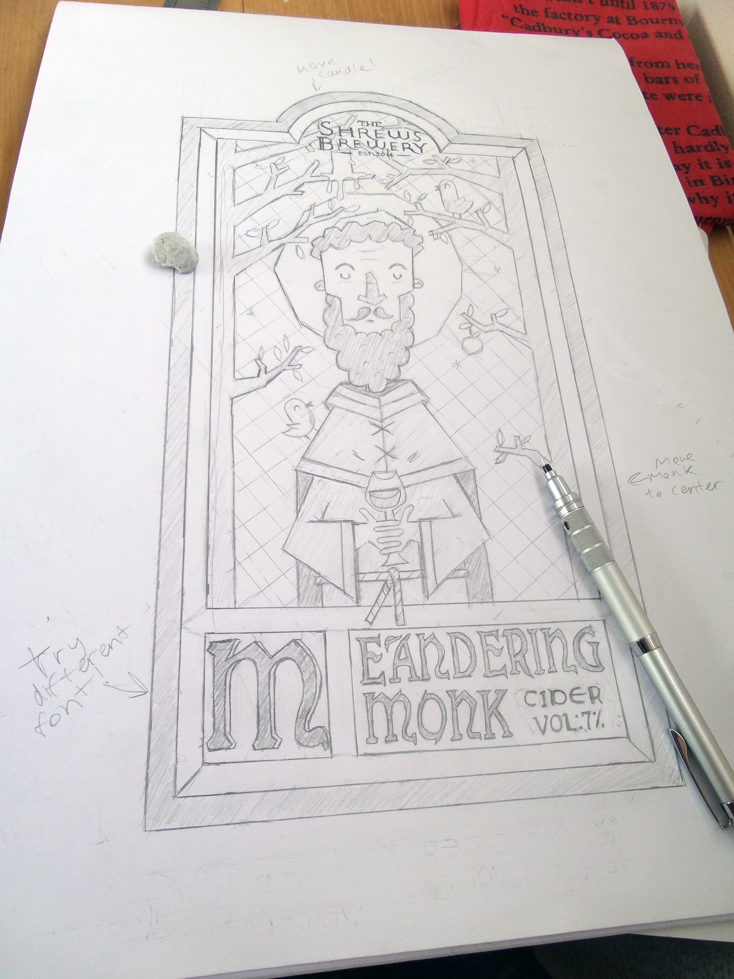 meandering-monk-cider-label-design-Illustration-sketch
