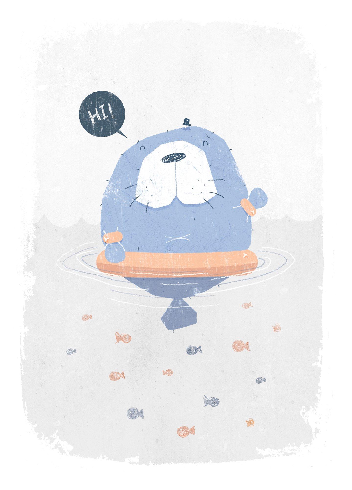 Cute Manatee Illustration -7-smaller