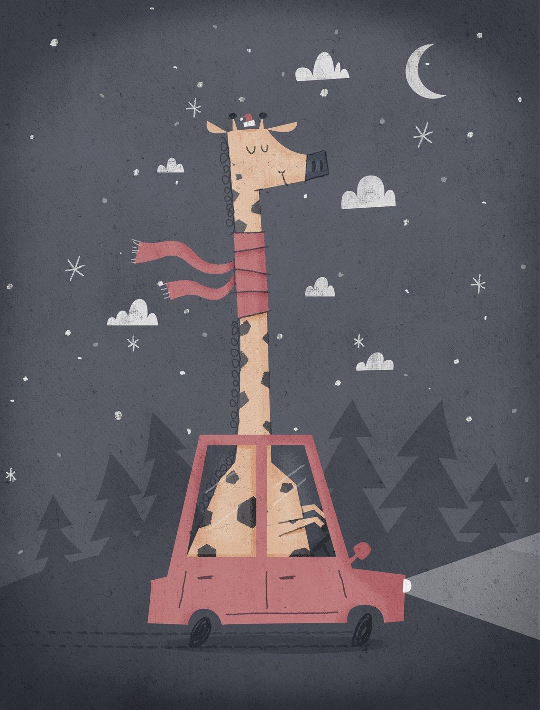 giraffing-home-for-christmas smallerer illustration Shrewsbury