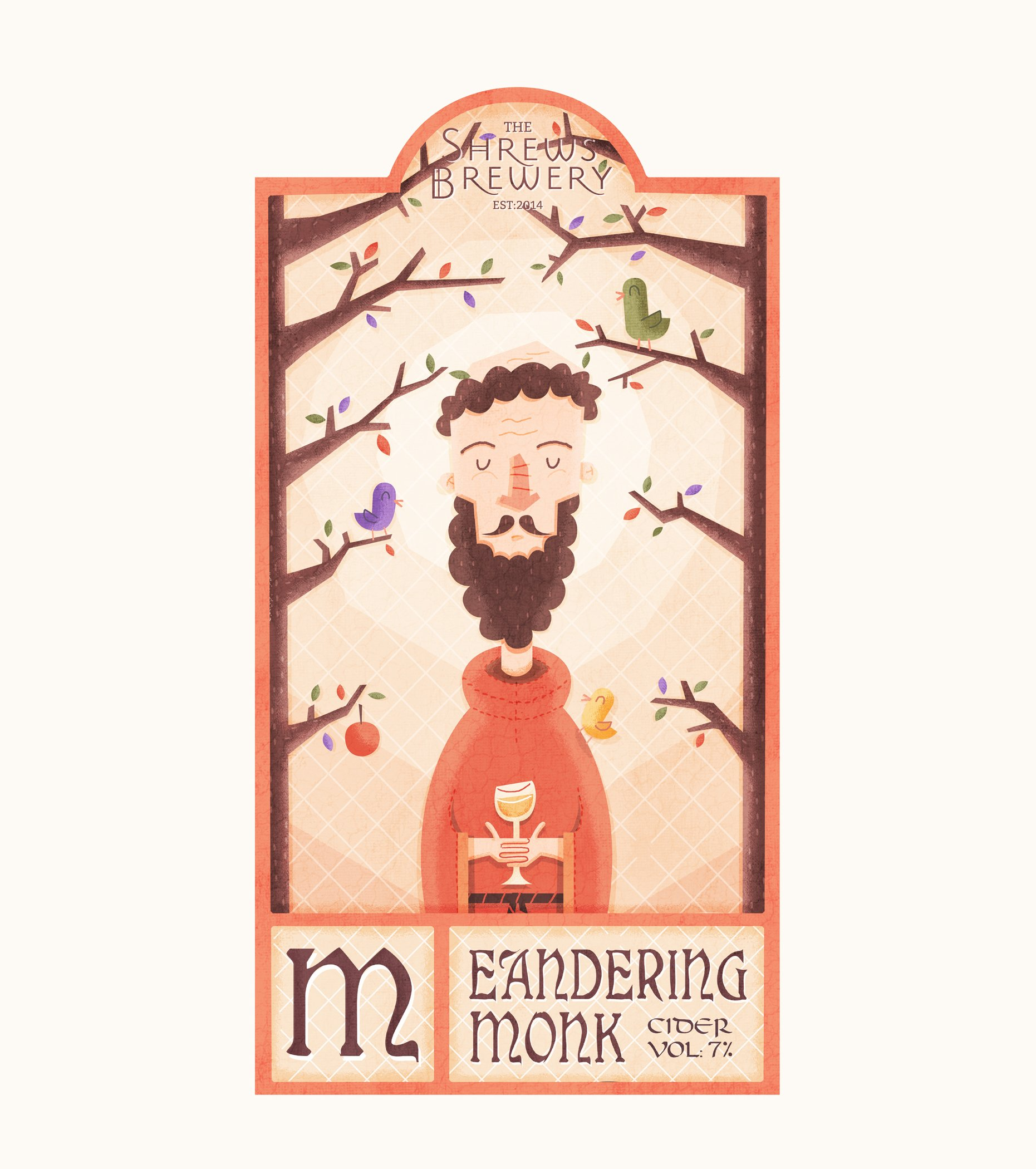 meandering monk cider label design Illustration