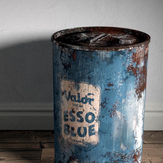 Blue esso drum 3d render